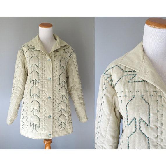Southwestern Jacket / Beaded Jacket / Southwest Coat /  Hippie Jacket / Western Jacket / Unisex / Size Medium M / 70's Jacket