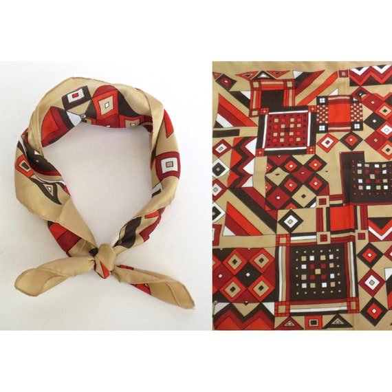 Vintage Neckerchief / Mod Print Scarf / 60's Hair Scarf / Op Art Scarf / 1960's Bandana / Gift for Her / Vintage Accessory