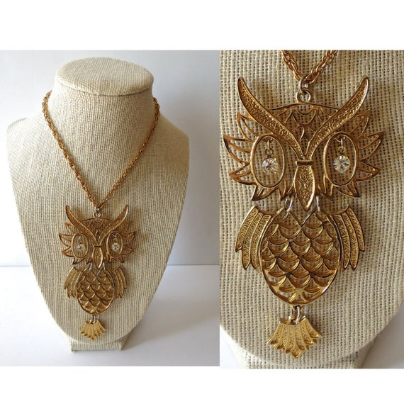 Vintage Owl Necklace Pendant Oversize Statement Necklace 1970's 70's Jewelry Rhinestone Eyes Gold Long Necklace Boho Bohemian Hippie