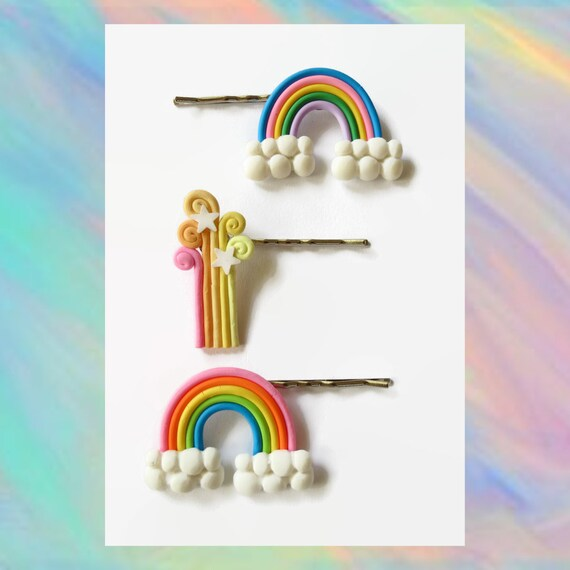 Rainbow Hair Pin Bobby Pin Clip Shooting Stars Kawaii Barrette Rainbows Clouds Pastel Hair Accessory Polymer Clay Fairy Kei Rave Cute