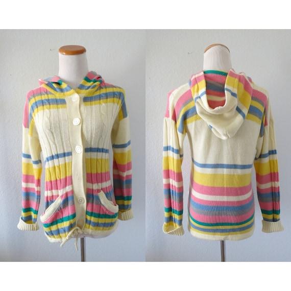 Rainbow Striped Sweater 70s Hooded Cardigan