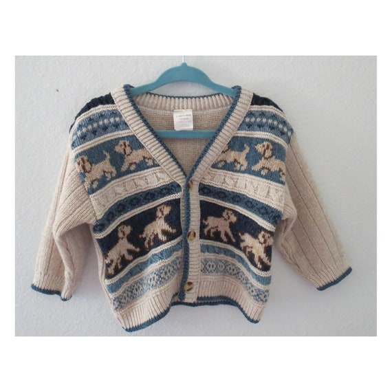 Vintage Baby Cardigan Sweater Dog Print