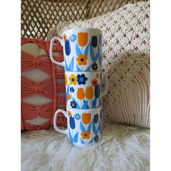 Floral Stacking Mugs Mod Coffee Cups