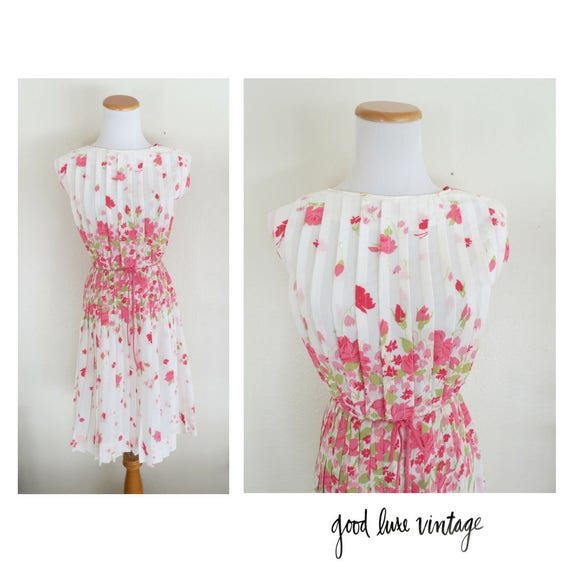 60's Day Dress Retro Mid Century Floral Dress