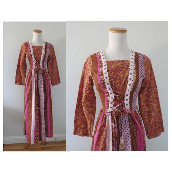Vintage Prairie Dress 70s Floral Maxi Gown