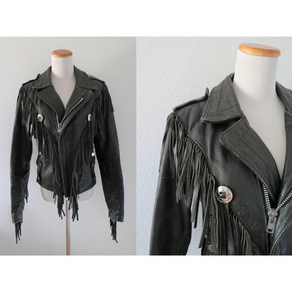 Motorcycle Jacket Black Leather Fringe Western Bik
