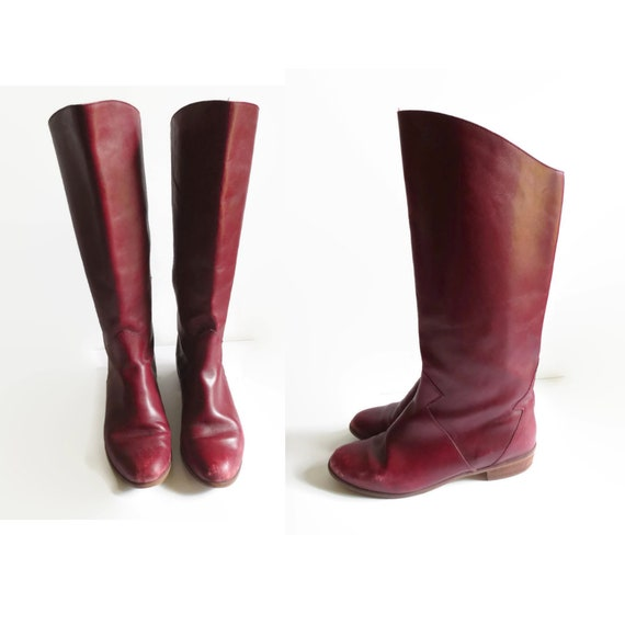 Oxblood Leather Boots / Burgundy Boots / Size 7.5 8 / 1980's Boots / Riding Boots / Halston Boots / Maroon Leather Boots