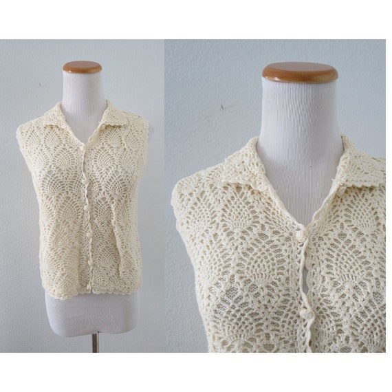 Crochet Blouse Vintage Cream Knit Top