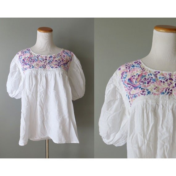 Vintage Mexican Blouse / Embroidered Top / Oaxacan Blouse / Hippie Peasant Blouse / Boho Top / 70's Blouse / Pastel Peasant Top / Medium M
