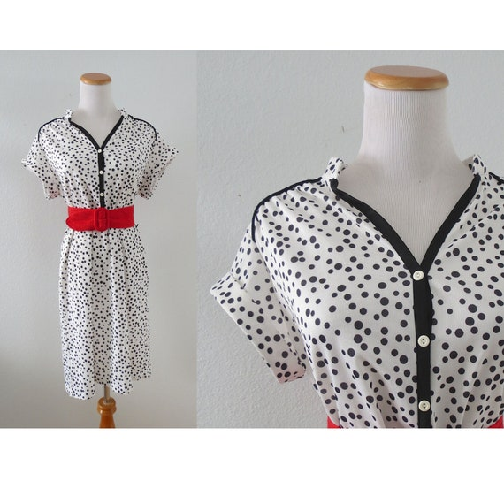 Polka Dot Dress Retro Vintage 80s Dress