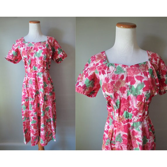 50s Floral Dress Pink Mid Century Dress