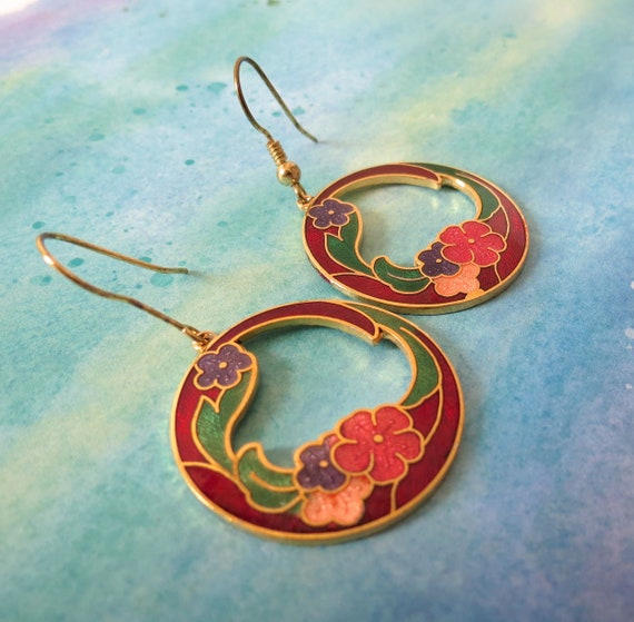 Cloisonne Earrings Cloisonné Dangle Jewelry