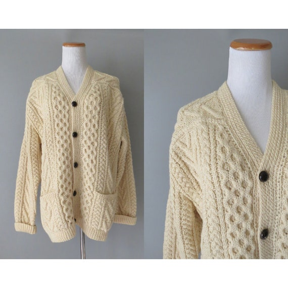 Fisherman Cardigan Sweater / Cream Knit Cardigan / Fishermen's Sweater / Size XL / Cable Knit Cardigan / Sweater with Pockets