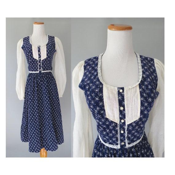 70's Hippie Dress / Candi Jones Dress / Prairie Dress / 1970's Bohemian Dress / Size XS / Calico Floral Dress / Gunne Sax Inspired