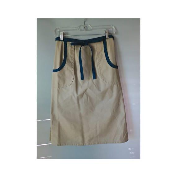 Vintage Khaki Wrap Skirt 70's High Waisted Beige Navy Blue A-line Midi Skirt 1970's Pockets Size Medium Preppy