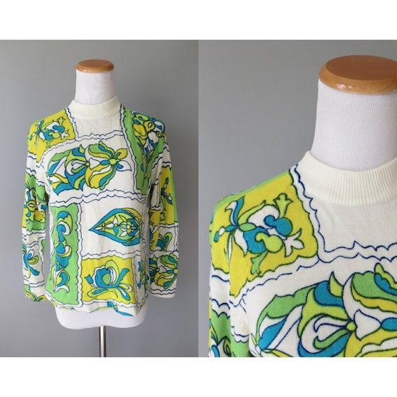 Mod Sweater 60s Psychedelic Print Top
