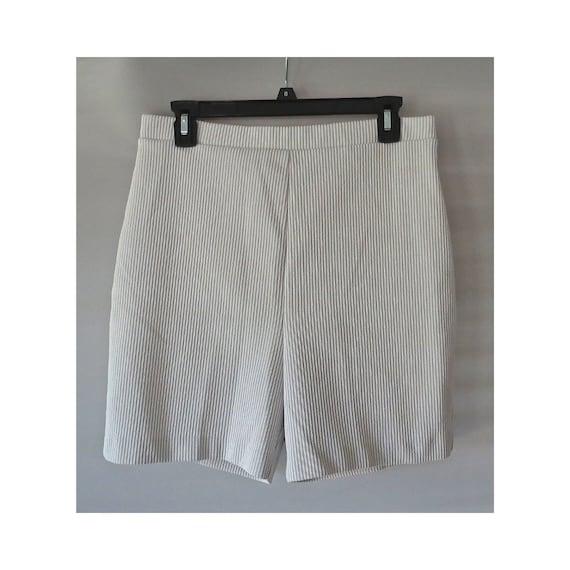 70's Shorts / Mod Striped Shorts / 1970's High Waisted Shorts / Gray Striped Shorts / Booty Shorts / Stretchy Shorts / Size Medium Large