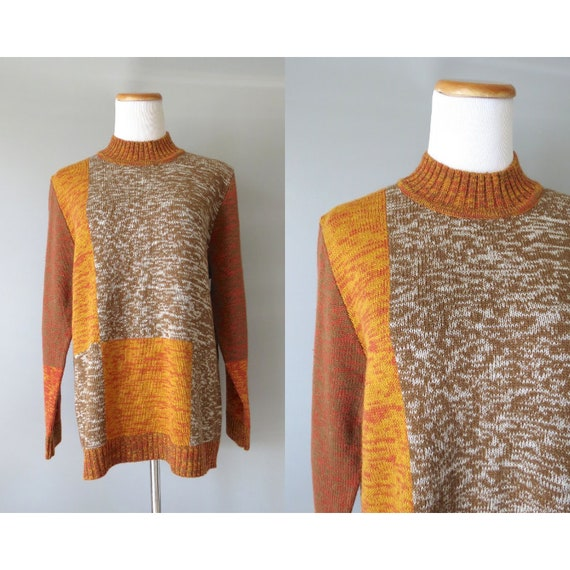 Space Dye Sweater / Earth Tones Sweater / Space Dyed Pullover / Size Large / 80's Sweater / Geometric Brown Sweater