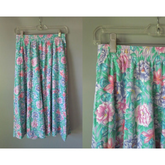 Pastel Floral Skirt / Floral Midi Skirt / Cotton Skirt / Skirt with Pockets / 80's High Waisted Skirt / Size Small S Medium M / Summer
