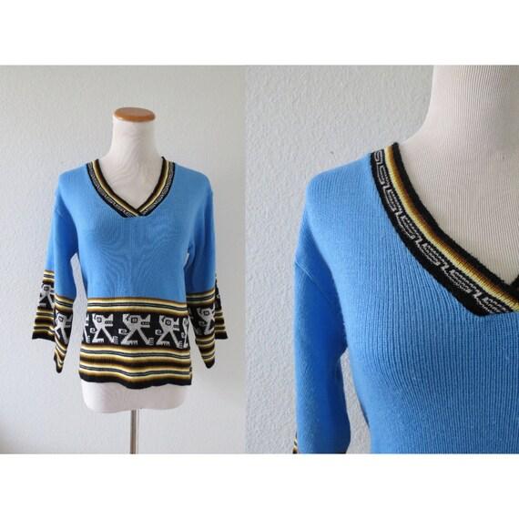 70s Ethnic Sweater Aztec Boho Hippie Pullover