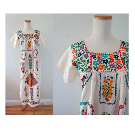 Mexican Embroidered Dress Oaxacan Sundress
