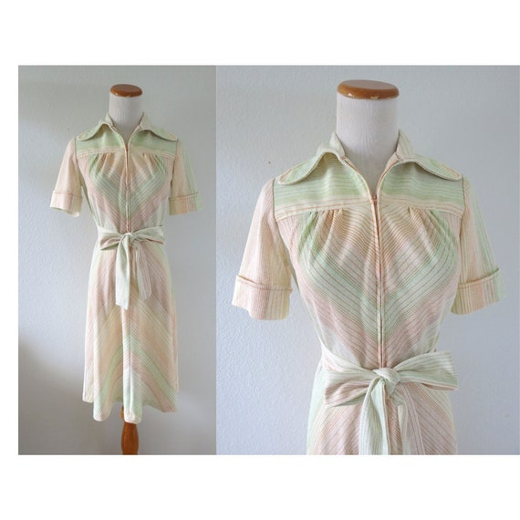 70s Striped Dress Chevron Stripe Midi Dress