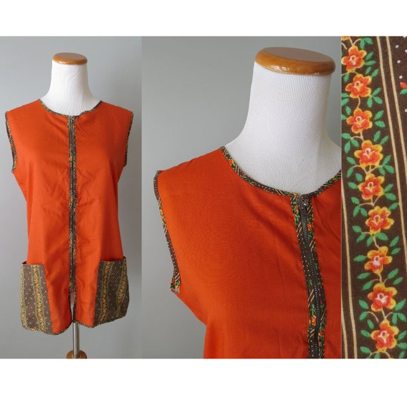 Hippie Tunic Top / 70's Smock Top / Hippie Blouse / 1970's Tunic / Nutmeg Brown Top / Size Medium M / 1970's Tunic Top / Floral Tunic