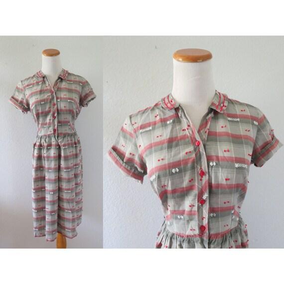 50s Cotton Day Dress Shirtwaist Dress