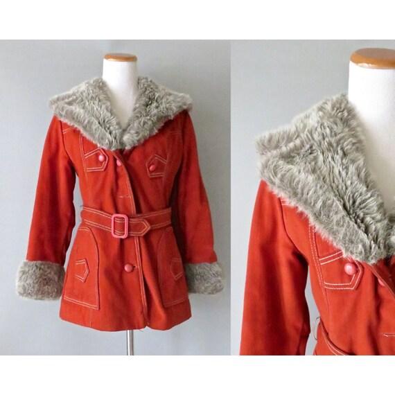 Faux Fur Coat / 70's Hippie Coat / Mod Jacket / 1970's Coat / Vegan Fur Coat / Size Small / Almost Famous Jacket / Boho Coat