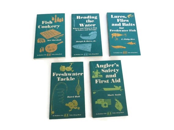 Fishing Book Set Outdoor Life Tacklebox Library Angler Fish Guides Set of 5 Paperback Books First Aid Tackle Cookery Lures Flies Bait