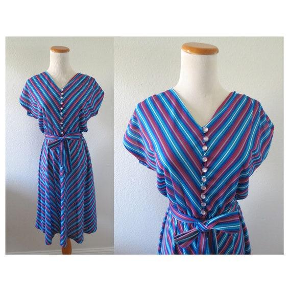 Chevron Dress 70s Rainbow Striped Dress