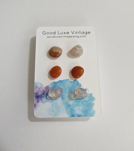 Crystal Earring Set Gemstone Studs Agate Aventurine Rose Quartz Gift for Her Natural Minimalist Jewelry Boho Bohemian Hippie