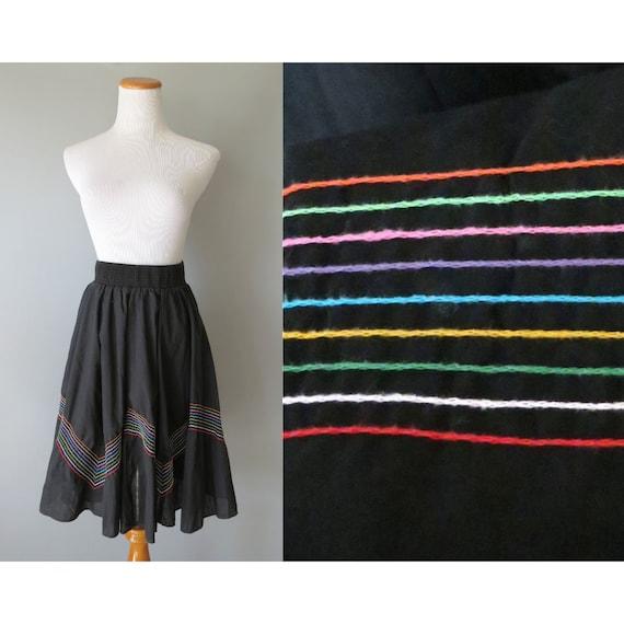 Rainbow Skirt / Rainbow Striped Skirt / Circle Skirt / Kawaii Skirt / Harajuku Skirt / Large / Malco Modes / Square Dance Skirt