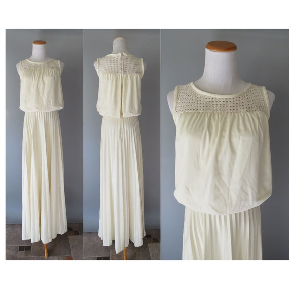 70s Wedding Dress Crochet Cream Maxi