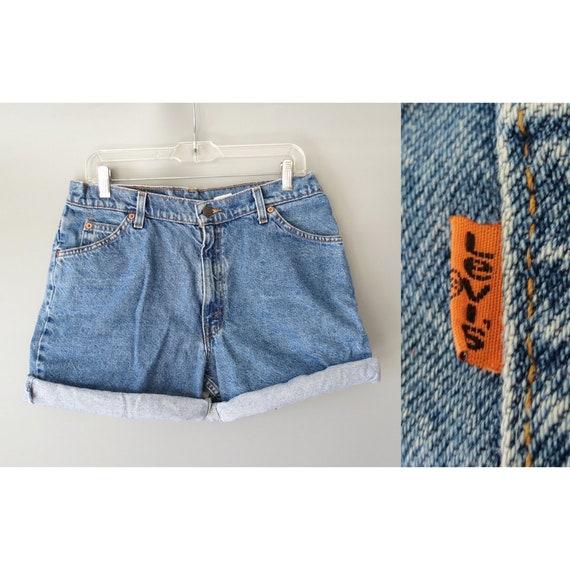 Levis Denim Shorts / Levi's Jean Shorts / Orange Tab Levi's / Size 13 / Relaxed Fit / High Waisted / 80's Shorts / 1980's Denim Shorts / 967