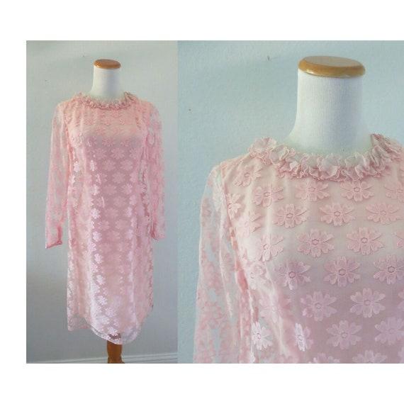 60s Lace Dress Mod Pink Cocktail Party Dress