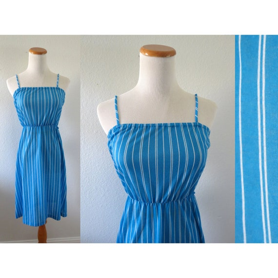 80s Sundress Blue Striped Slip Dress