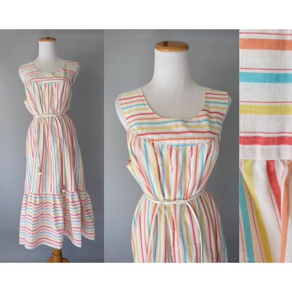 Rainbow Striped Sundress / Rainbow Stripe Dress / Plus Size XL 1X 2X / 80's Sundress / Casual House Dress / Cotton Sundress