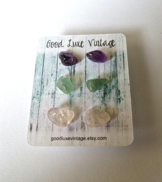 Crystal Earring Set Natural Tumbled Gemstones Amethyst Aquamarine Rose Quartz Gift for Her Boho Bohemian