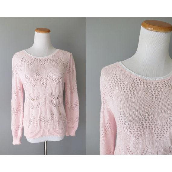 Pastel Pink Sweater 80s Knit Sweater