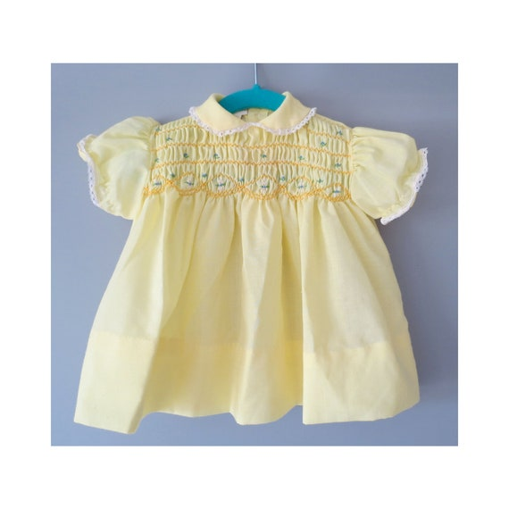 Vintage Baby Dress Smocked Yellow Spring Dress