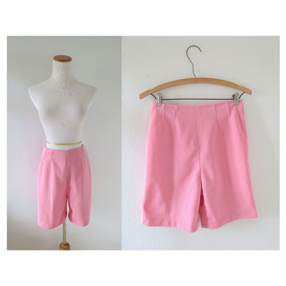 60s Shorts Pink High Waisted 1960s Shorts