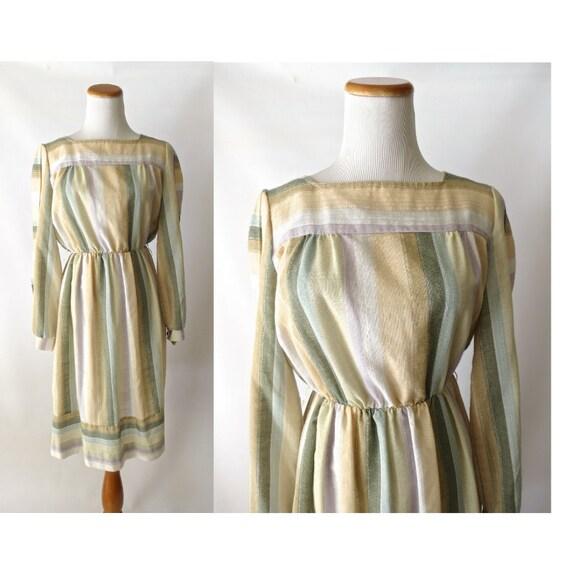 Earth Tones Dress Muted Pastel Rainbow Striped Secretary 80's Dress 1980's A-line Office Dress Size Small Medium