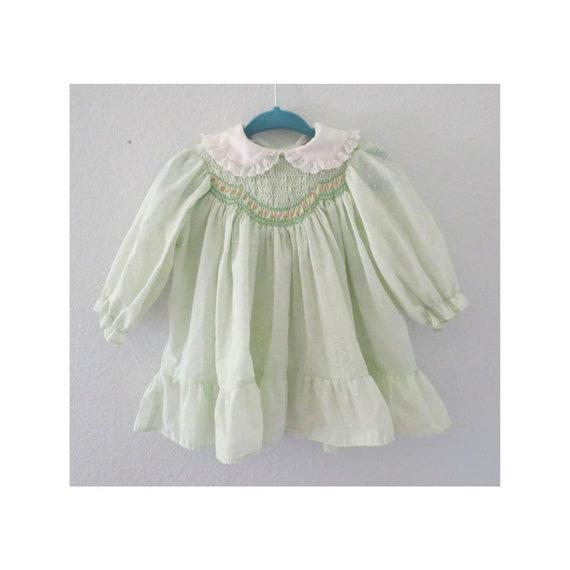 Vintage Baby Dress Smocked Pastel Dress
