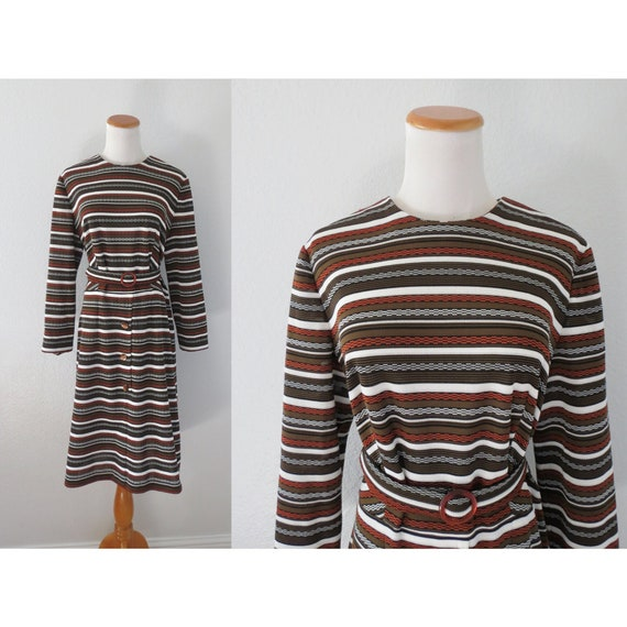 60s Shift Dress Striped Mod 1960s Dress