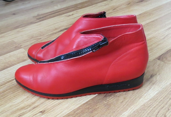 Vintage Red Ankle Boots Leather Cherokee Shoes