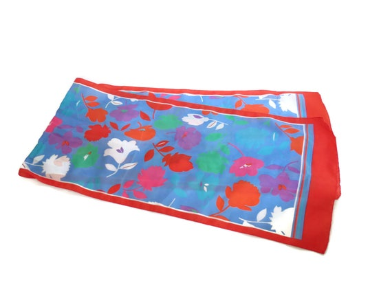 Red Floral Scarf / Floral Neckerchief / Colorful Scarf / Polyester Scarf / Hair Accessory / Neck Scarf
