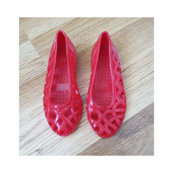 Toddler Jellies Shoes / Girl's Jelly Sandals / 80's Jellies / Size 5 / Red Jellies / Woven Flats / 1980's Sandals