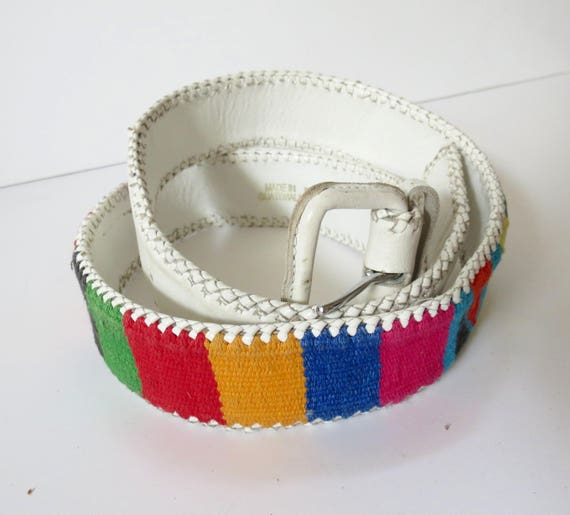 "Vintage Guatemalan Belt / White Woven Belt / Rainbow Belt / Guatemalan Leather Belt / Boho Hippie Belt / Size Medium Large / 32"" Waist"