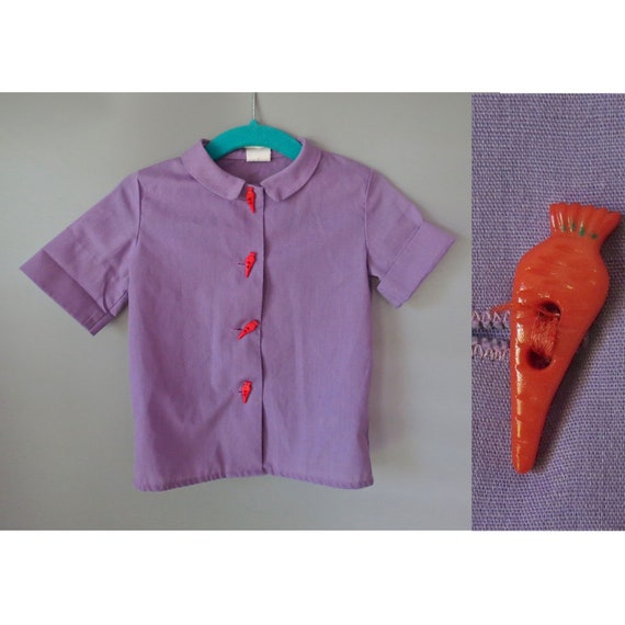 Pastel Purple Top / Novelty Blouse / Girl's 2T Shirt / Lavender Blouse / Vintage Girl's Button Up Blouse / Novelty Buttons / Carrot Buttons